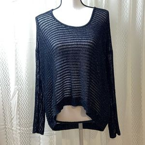 Jennifer Lopez Semi Sheer Metallic Crop Sweater L